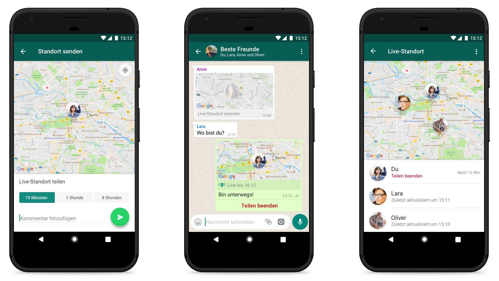 WhatsApp Live-Standort-Funktion (anklicken zum Vergrößern)