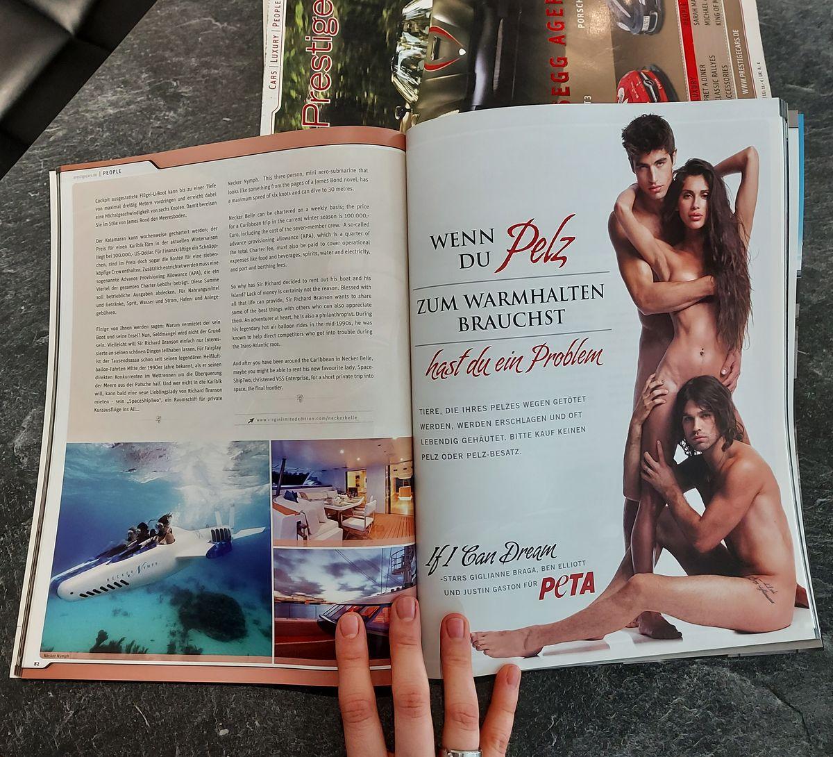 Beispiel eines Charity-Inserats von Peta in meinem damaligen Printmagazin.